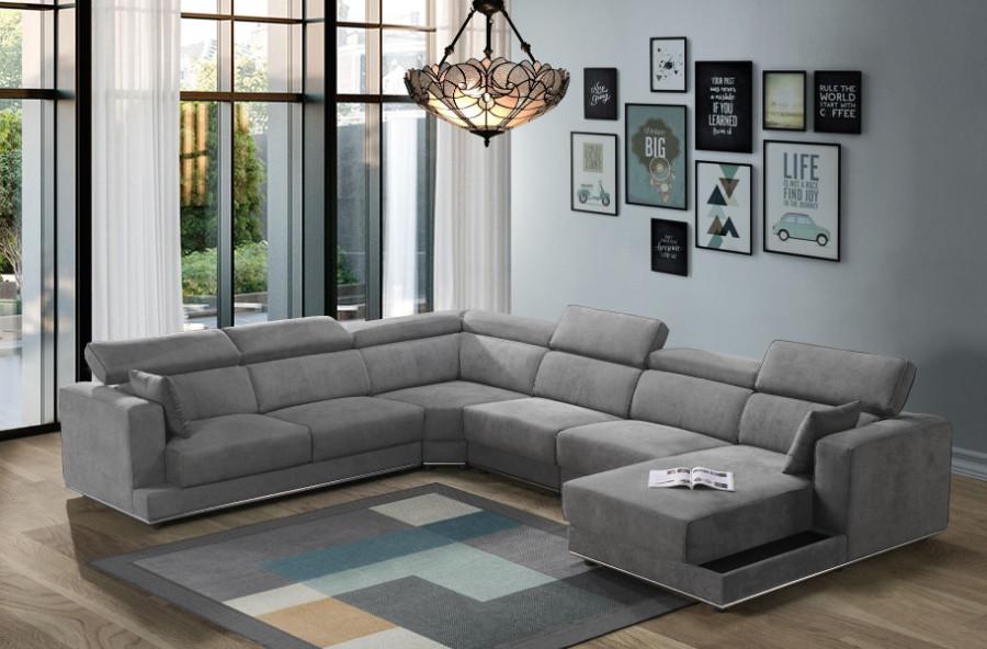 Acme 53720-21-22-23 5 pc Waldorf park alwin dark gray fabric modular sectional sofa with chaise