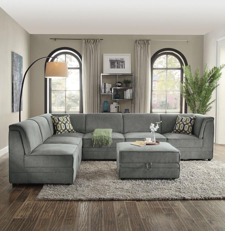Acme 53780-81A 6 pc Bois gray velvet modular sectional sofa
