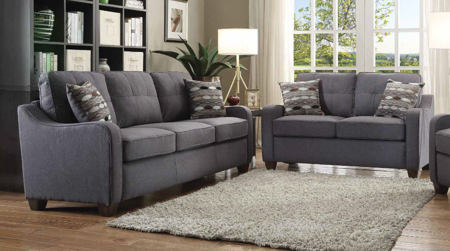 Acme 53790-91 2 pc cleavon ii gray linen fabric pocket coil seating sofa and love seat set