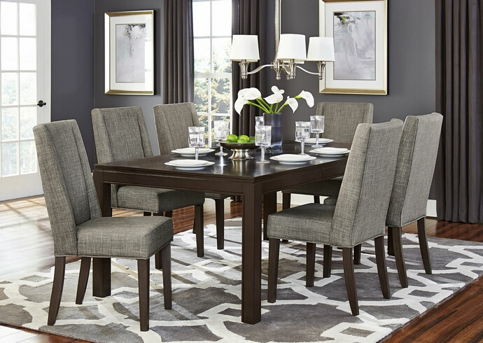 HE-5409-78 7 pc Kavanaugh collection dark brown finish wood dining table set