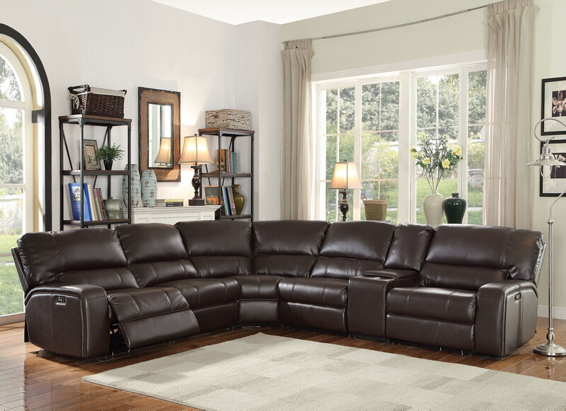 Genial Acme 54155 6 Pc Saul Espresso Leather Aire Sectional Sofa With Power  Recliners