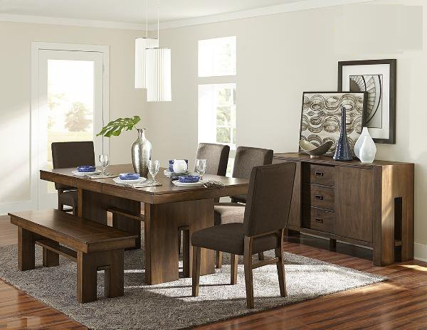 HE-5415RF-78 6 pc Sedley chocolate brown finish wood dining table set with pedestal base