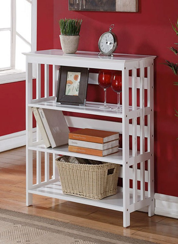 Asia Direct 5416-WH Cade holland 3 tier white finish wood book shelf