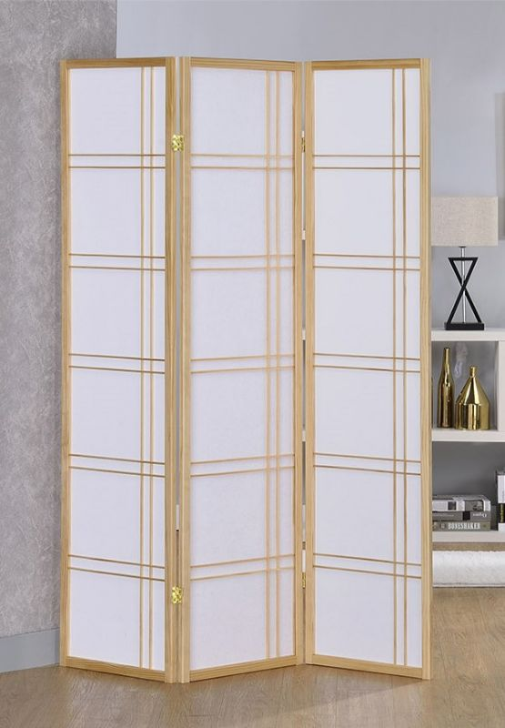 Asia Direct 542NA 3 panel natural finish wood room divider shoji screen double cross design