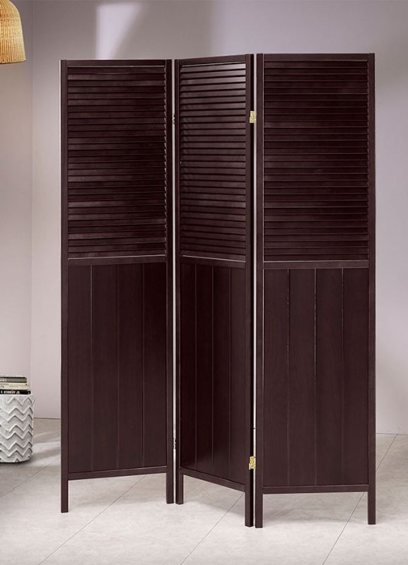 Asia Direct 5421 3 panel room divider shoji screen solid wood espresso finish shutter style