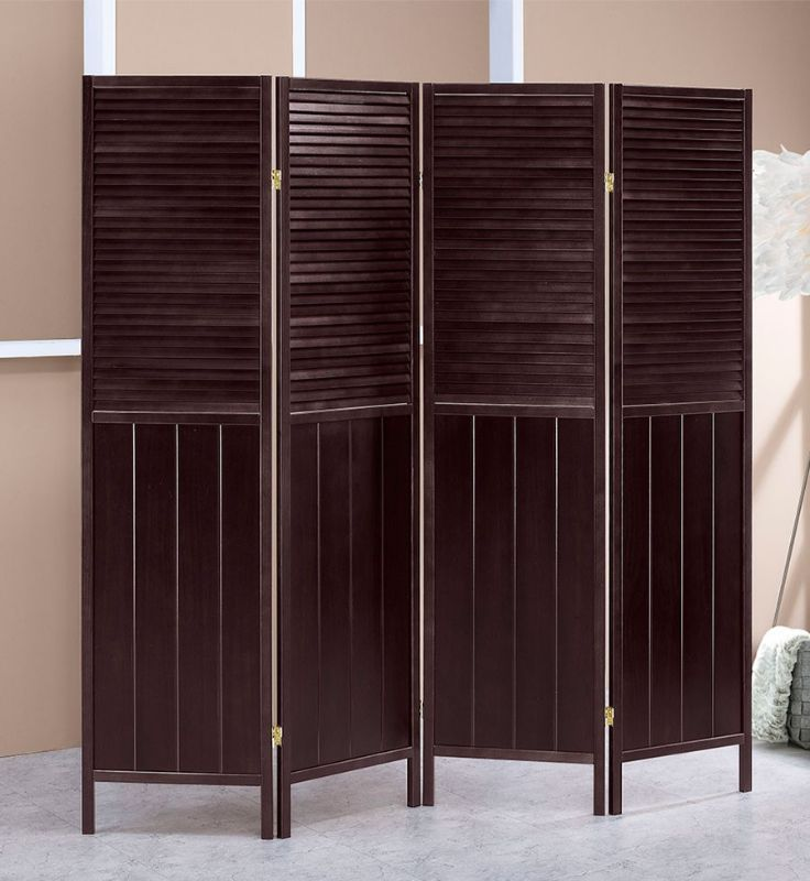 Asia Direct 5421-4 Savannah 4 panel room divider shoji screen solid wood espresso finish shutter style