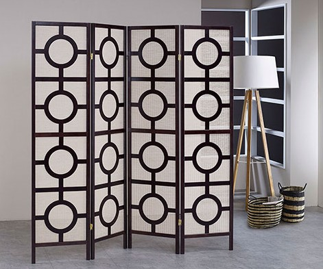 """Asia Direct 5426-4 4 panel Circular design black finish wood with Jute inlay style room divider shoji screen,  measures 68"""" wide x 70.25"""" High."""