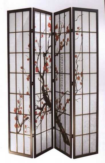 5428-4 4 panel black finish wood framed room divider with Plum Blossom design
