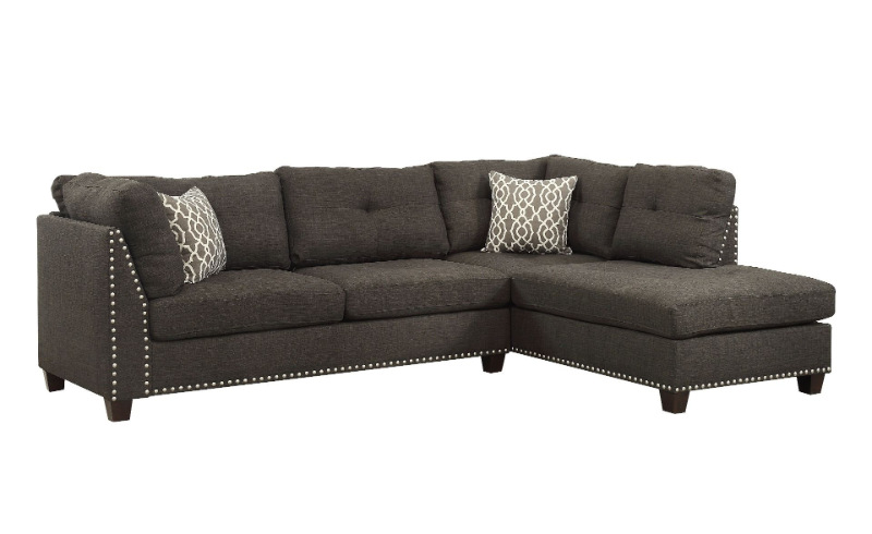 Acme 54375 Latitue run dasara laurissa light charcoal fabric sectional sofa with chaise and ottoman