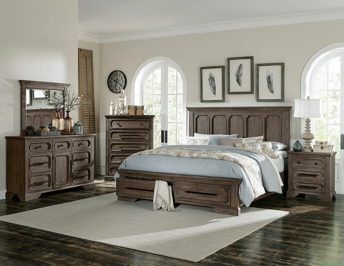 HE-5438-5PC 5 pc Toulon collection wire brushed distressed dark oak finish wood bedroom set