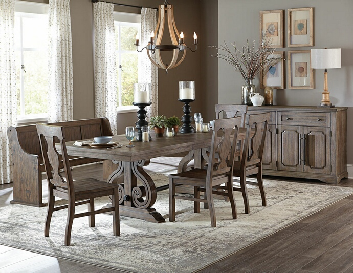 HE-5438-96 6 pc Schleiger collection country style wire brushed dark pewter finish wood dining table set with bench