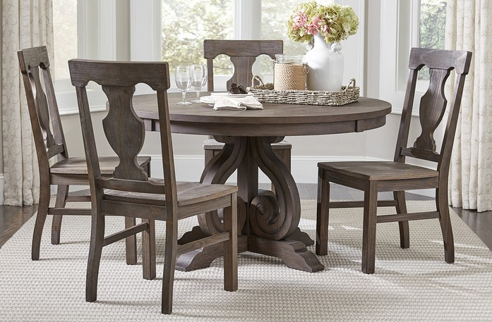 """Homelegance 5438-54 5 pc Darby home co toulon distressed dark oak finish wood 54"""" round dining table set"""