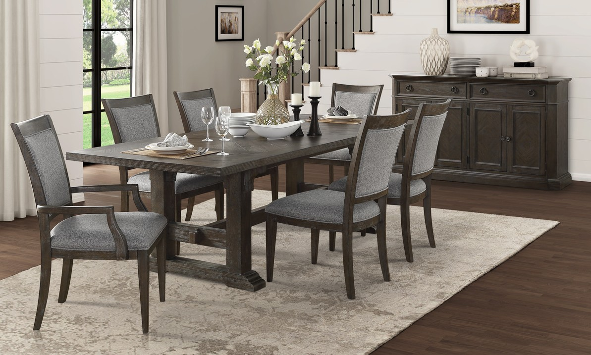 Homelegance 5441-102 7 pc Darby home co sarasota driftwood brown finish wood dining table set