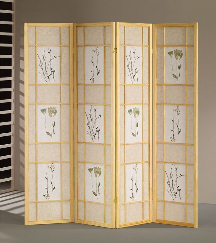 Asia Direct 5442-4 Ophelia and Co Nidhi natural finish 4 panel floral room divider screen