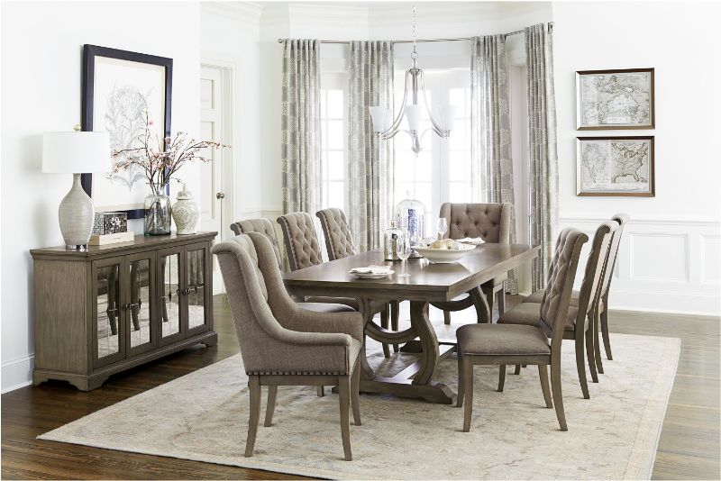7 pc Vermillion oak bisque finish wood trestle base dining table set