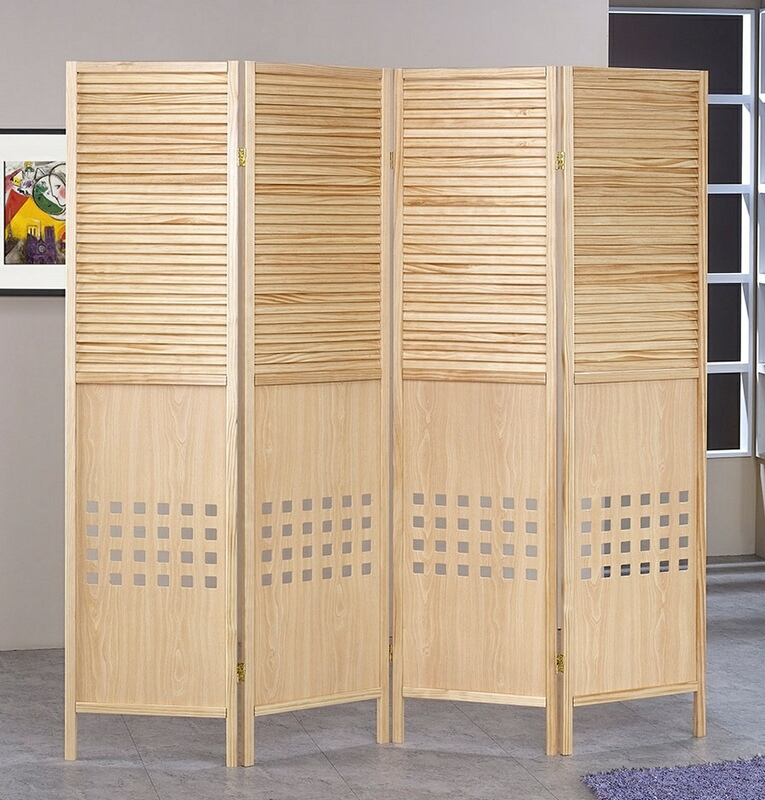 Asia Direct 5446-4 4 panel solid wood natural finish shutter style room divider shoji screen