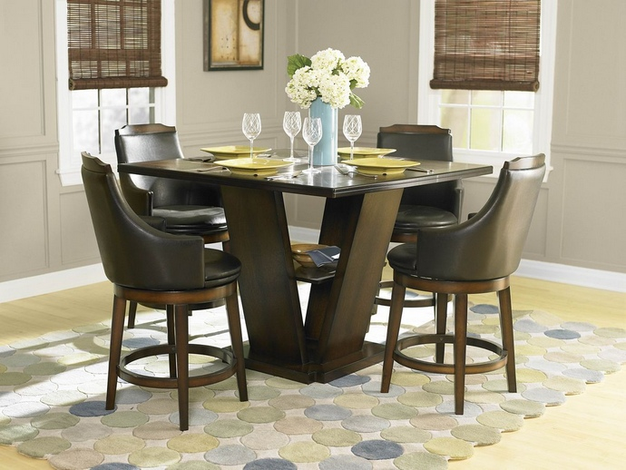 HE-5447-36 5 pc bayshore collection ii burnished walnut finish wood counter height pedestal dining table set with vinyl padded swivel seats