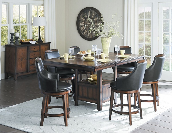 HE-5447-36XL 7 pc Bayshore collection burnished walnut finish wood counter height pedestal dining table set with vinyl padded swivel seats