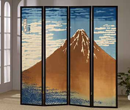 AD-5452 4 panel mt. fuji hokusai pastel look room divider shoji screen on canvas print
