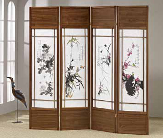 AD-5453 4 panel walnut finish wood room divider shoji screen with floral japanese paintings in the centers