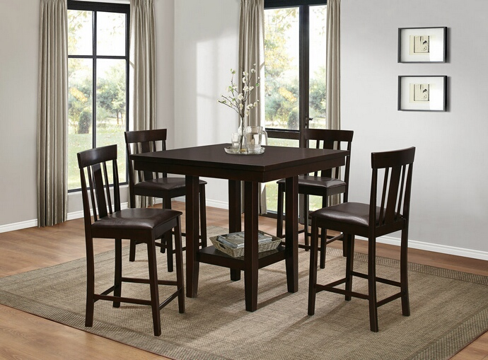 HE-5460-36 5 pc diego collection warm  brown finish wood counter height dining table set with upholstered seats