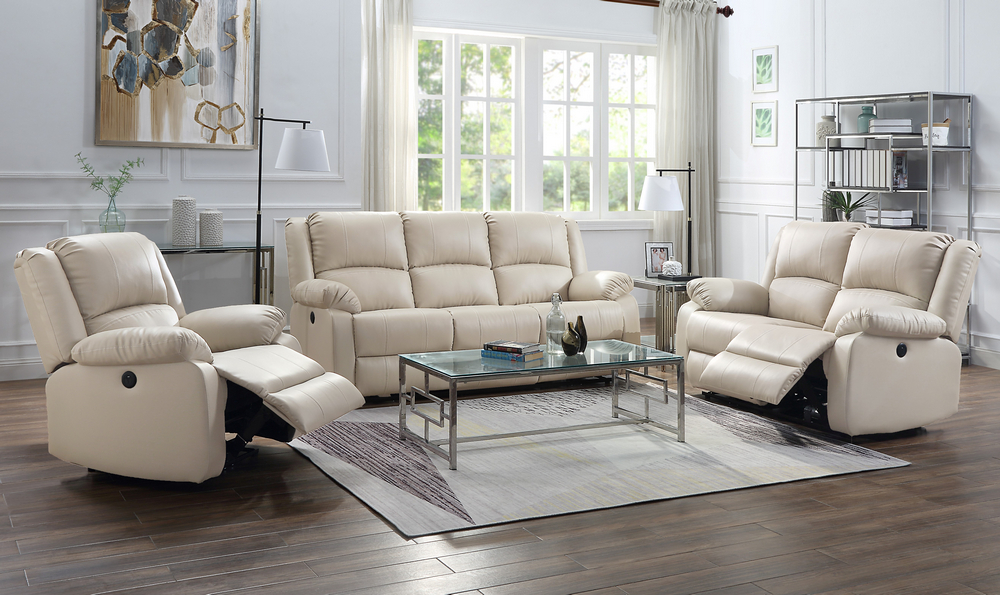 Acme 54610-11 2 pc Red barrel studio swinford zuriel beige faux leather sofa and love seat set with recliner ends