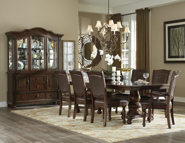 HE-5473-103 7 pc Lordsburg collection brown cherry finish wood double pedestal dining table set