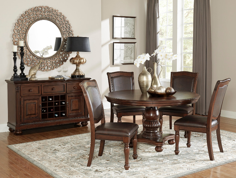 Home Elegance 5473 54 5 Pc Lordsburg Brown Cherry Finish Wood 54 Round Dining Table Set