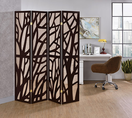 """Asia Direct 5475-4 4 panel Tree design espresso finish wood with Jute inlay style room divider shoji screen,  measures 68"""" wide x 70.25"""" High."""