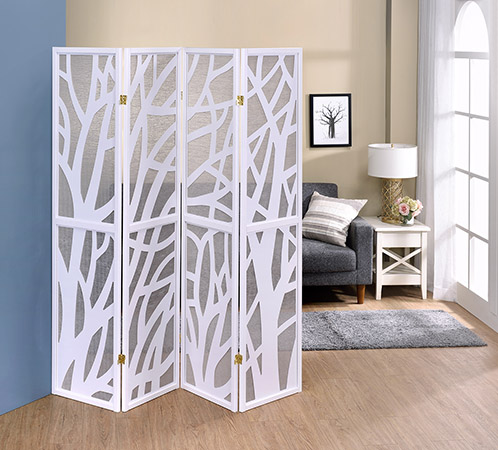 "Asia Direct 5476-4 4 panel Tree design white finish wood with Jute inlay style room divider shoji screen,  measures 68"" wide x 70.25"" High."