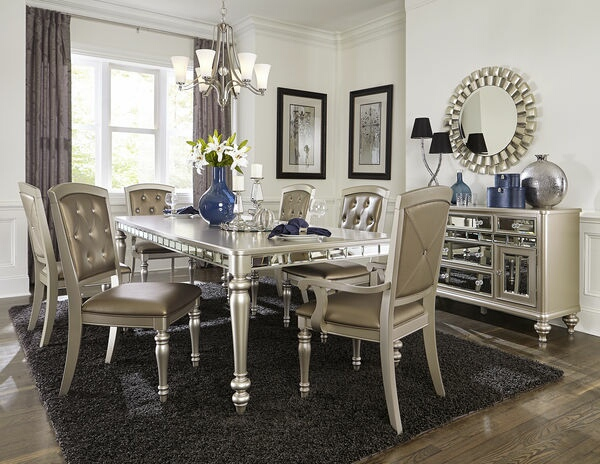 HE-5477N-96 7 pc Orsina collection antique silver finish wood dining table set with mirrored accents