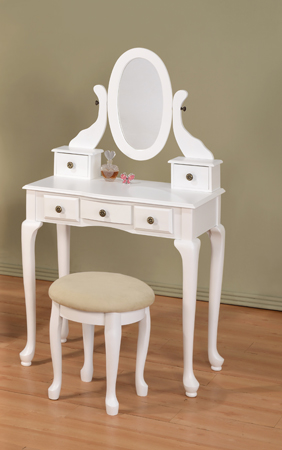 AD-548-WH White finish wood 3 pc bedroom vanity set with mirror and stool and multiple drawers