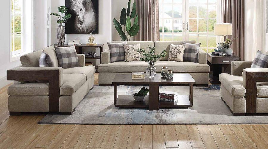 Acme 54850-51 2 pc Gracie oaks highbridge niamey neutral fabric cherry distressed wood accents sofa and love seat set