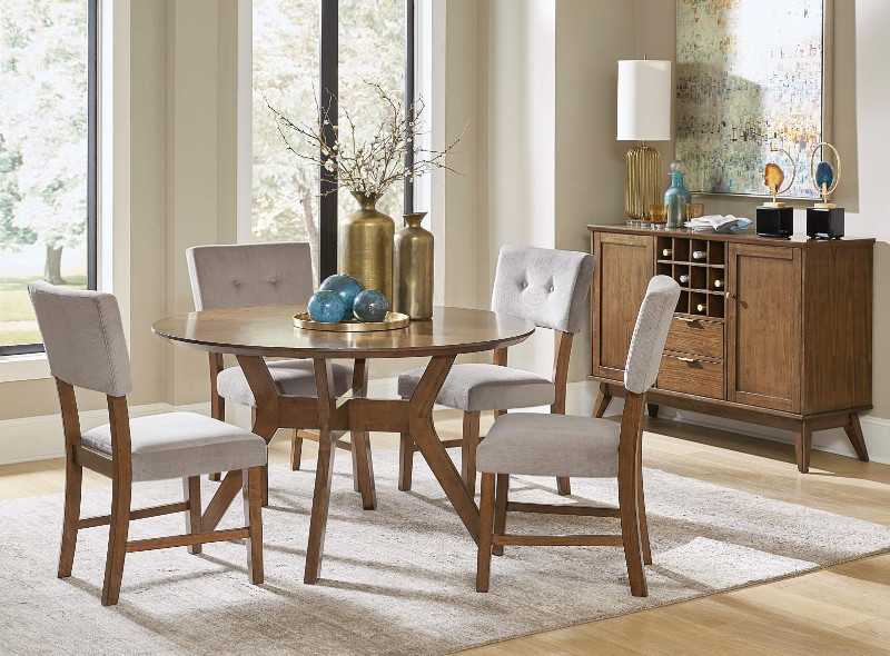 Tufted Chaise Lounge Chair, He 5492 52 5pc 5 Pc Edam Neutral Tone Finish Wood Mid Century Modern 52 Round Dining Table Set