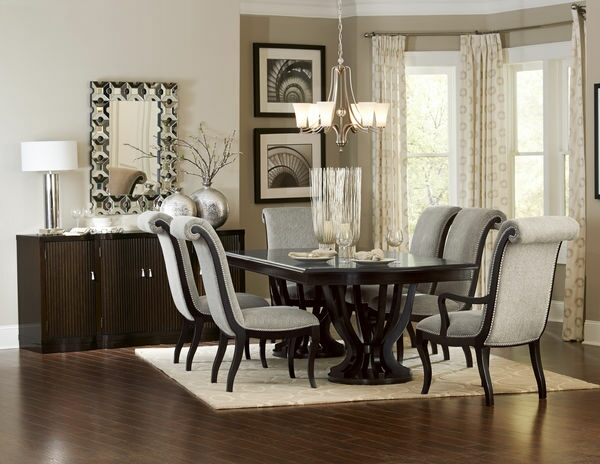 HE-5494-106 7 pc Savion collection espresso finish wood double pedestal dining table set
