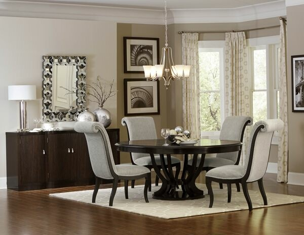 HE-5494-76 7 pc Savion collection espresso finish wood pedestal round / oval dining table set