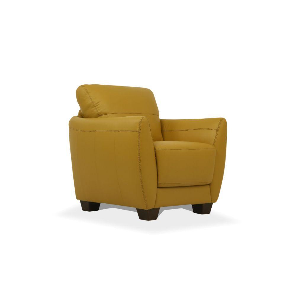 Acme 54947 Winston porter phaedra valeria Mi Piace modern mustard top grain leather chair