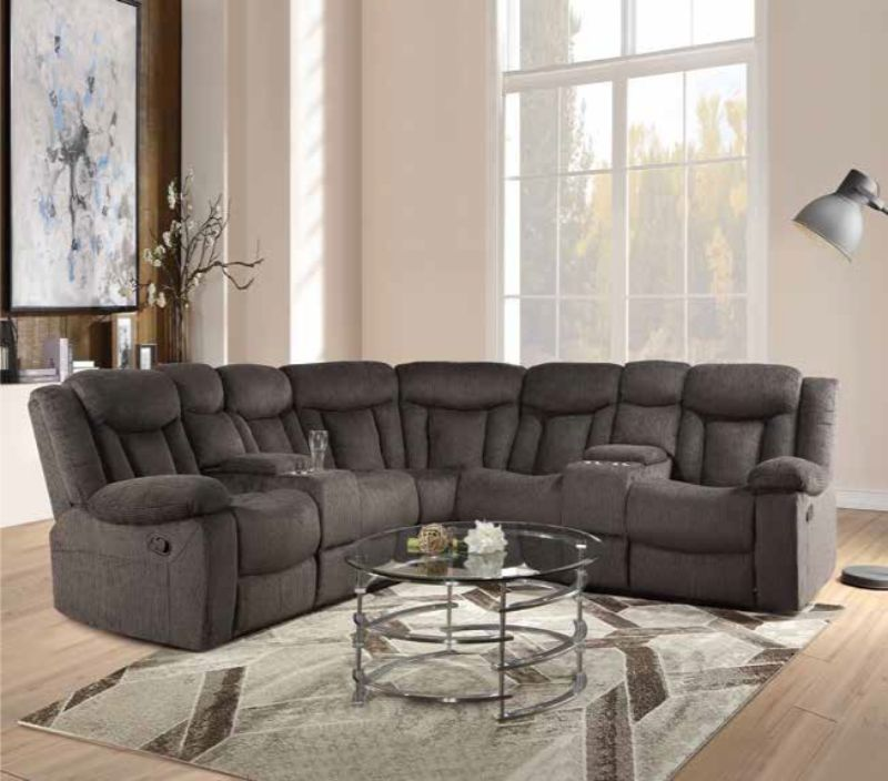 Acme 54965 3 pc Rylan dark brown fabric sectional sofa with consoles and recliner ends