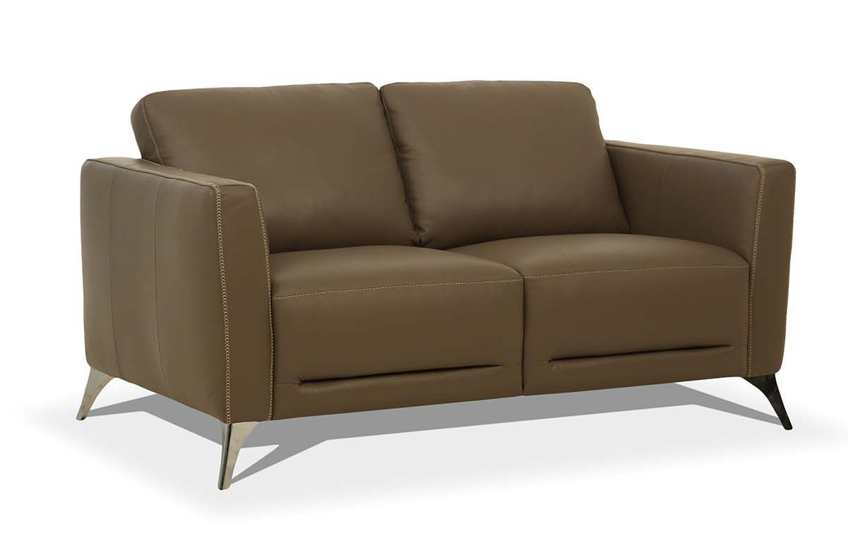 Acme 55001 Orren ellis akinruntan malaga Mi Piace modern taupe top grain leather love seat