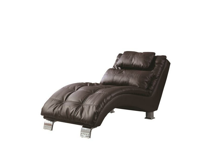 550076 Dark brown leather like vinyl upholstered tufted design chaise lounger with chrome legs