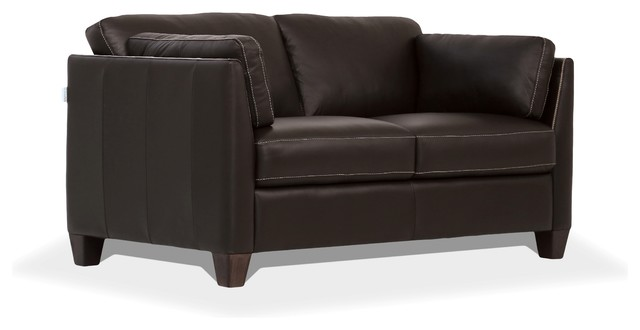 Acme 55011 Winston porter jemma matias Mi Piace modern chocolate top grain leather love seat