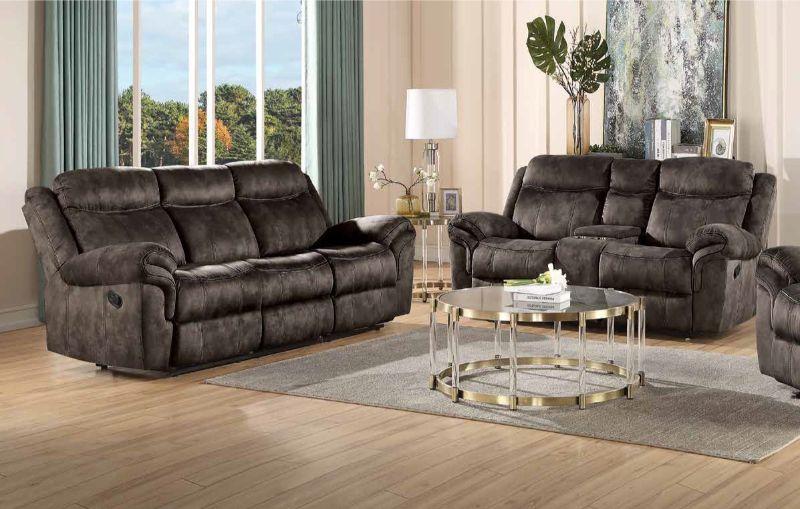 Acme 55020-21 2 pc Copper grove mudiyah zubaida 2 tone chocolate velvet power motion ends sofa and love seat set