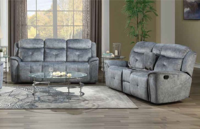 Acme 55030-31 2 pc Red barrel studio zahir mariana silver gray fabric sofa and love seat set with recliner ends
