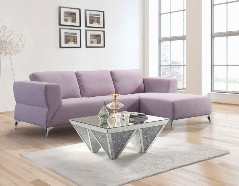 Acme 55090 2 pc Brayden studio otta josiah pale berries fabric modern style sectional sofa with chaise
