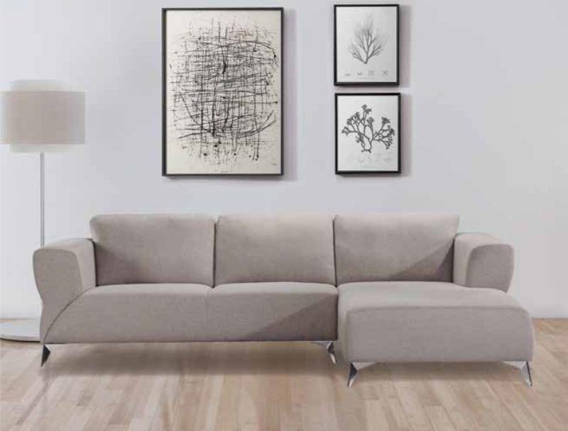 Acme 55095 2 pc Brayden studio otta josiah sand fabric modern style sectional sofa with chaise