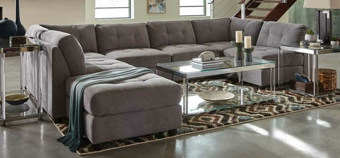 551004 6 pc Varick gallery halford claude dove grey chenille fabric modular sectional sofa