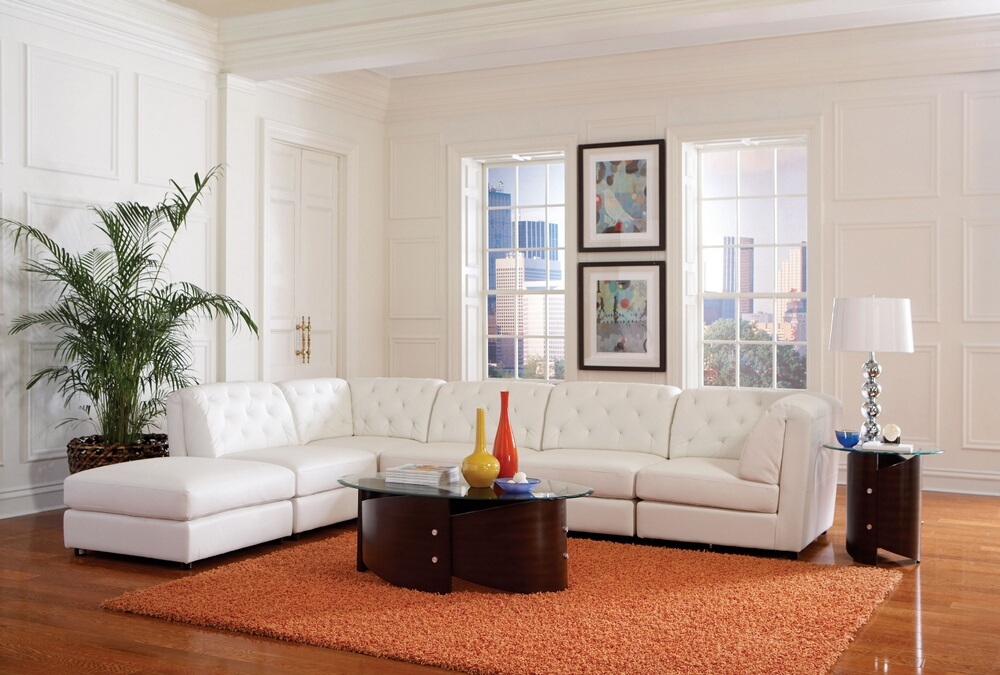 CST551021-1 6 pc Quinn collection white bonded leather upholstered modular sectional sofa set with tufted backs