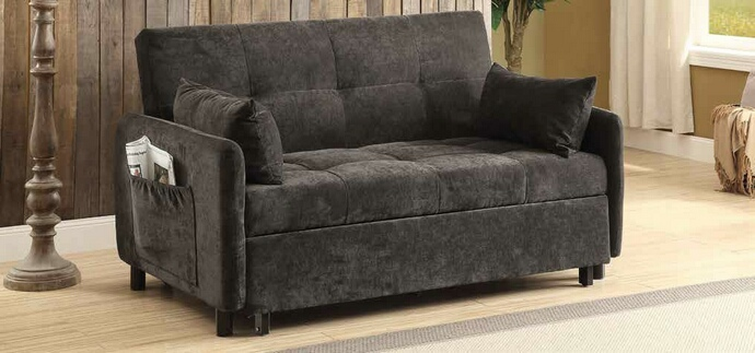CST551075 Flaxen collection dark brown twill fabric upholstered folding futon sofa bed with fold out bed