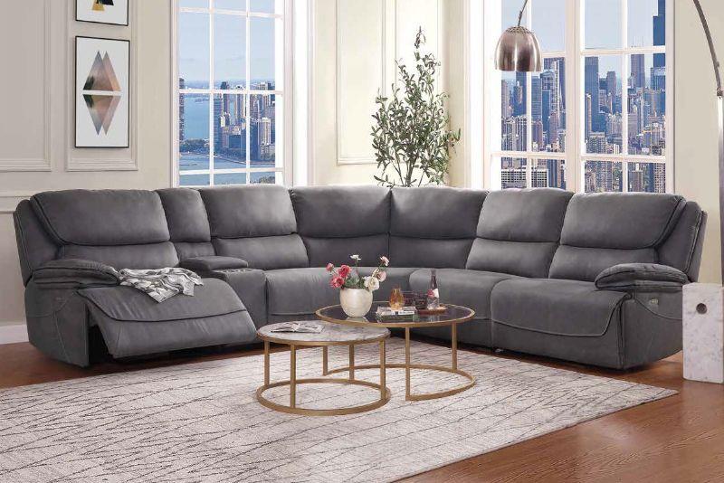 Acme 55120 6 pc Red barrel studio neelix seal gray fabric power motion ends modular sectional sofa