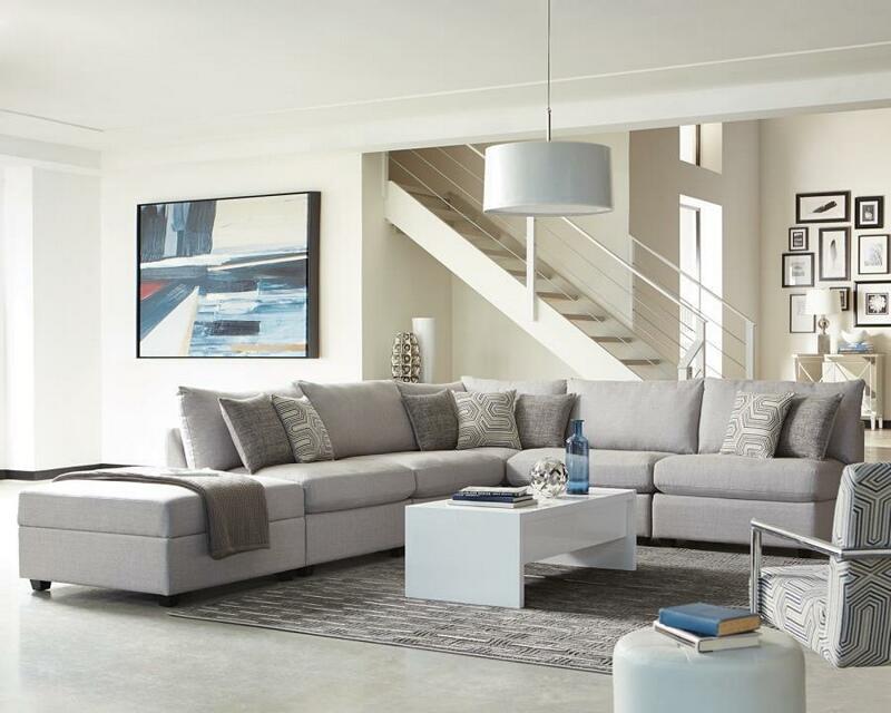 551221-23 6 pc Charlotte grey linen like fabric modular sectional sofa